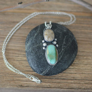 Fossilized Sand Dollar and Royston Turquoise Necklace