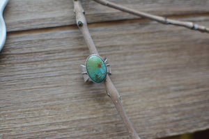Leaf Band Statement Ring - Turquoise Mountain - 7.75