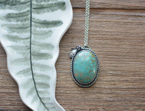 Pilot Mountain Turquoise with Casted Sterling Silver Succulent and Fern Necklace