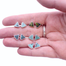 Load image into Gallery viewer, Triangle Hubei Turquoise Stud Earrings