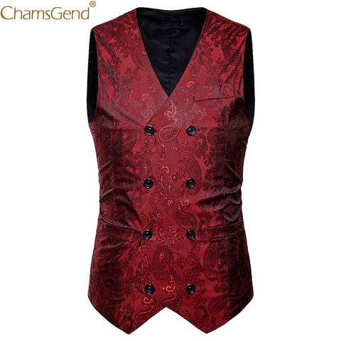 Mens Classic Printing Formal Vest for Wedding Party Man Male Double Breasted Slim Fit  Dress Blazers Tuxedo Formal Suit 90327