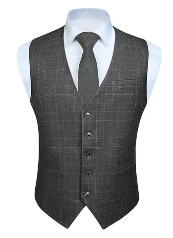 Fashion Solid Color Men's Wedding Business Formal Dress Vest Suit Slim Fit Casual Tuxedo Plaid Waistcoat