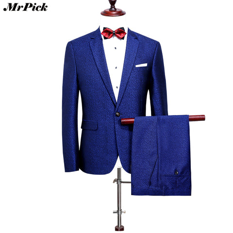 (Jacket+Pants) 2017 New Men's Diamond Blue Tuxedo One Button Style Costume Homme