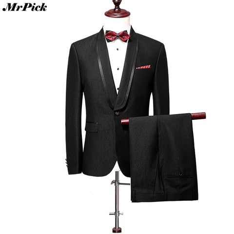 (Jacket+Pants) 2017 New Men Suits Fashion Slim Designer Brand Urban Classic Vintage Tuxedo
