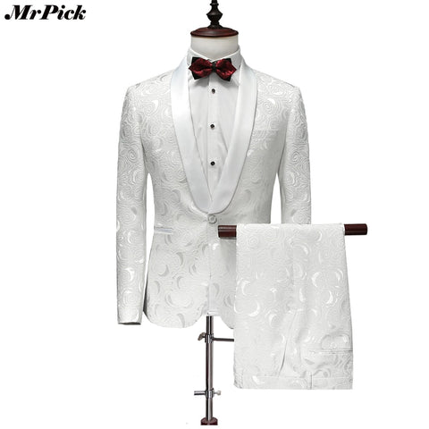 (Jacket+Pants) 2017 New Men Tuxedo Fashion Designer Brand White Floral Flower Suits