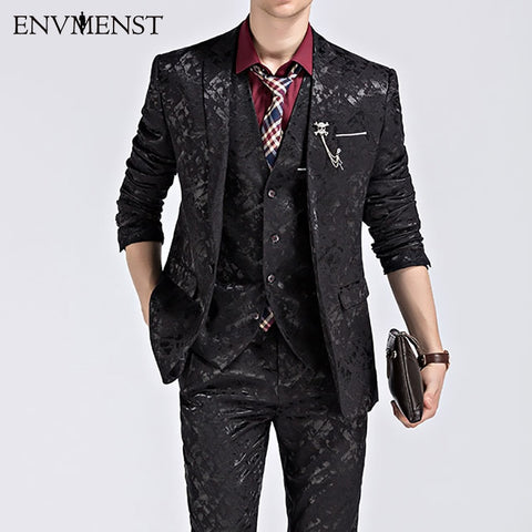 2017 Men's Wedding Suit Printed Paisley Floral Black Blue Tuxedo Stage 3 PCS Sets Slim Fit Male Suit With Pants M-3XL