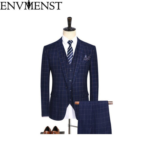 2018 Envmenst Brand Men's Stripe Suit Set Blazer+Vest+Pants Groom Tuxedos High Quality Pocket Designer Man Wedding Suit Set