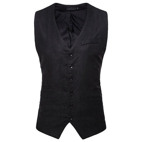 New Arrival Men's Classic Formal Business Slim Fit Dress Vest Suit Tuxedo Waistcoat Single Breasted V Neck Blazer Vests 90327