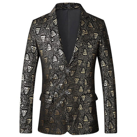 Foil Stamp Leopard Printing Mens Blazers Man Fancy Tuxedo Suit Long Sleeve Jacket Coat Slim Fit Men Clothing for Party 90327