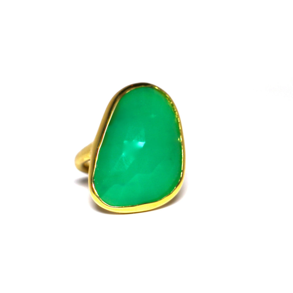 Green Chrysoprase Ring 18K Gold