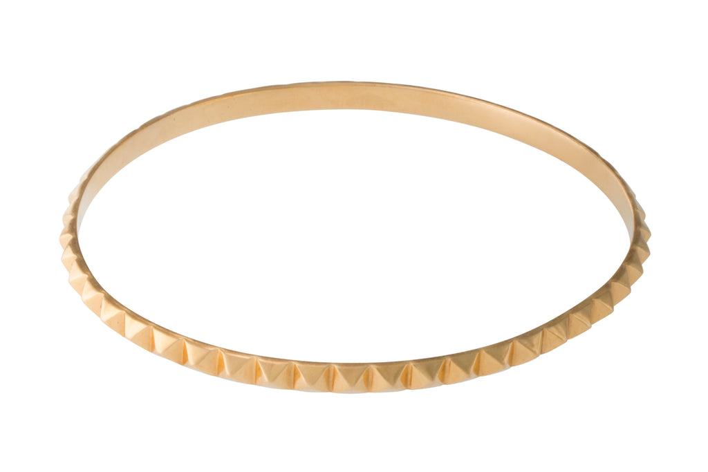 14k Yellow Gold Pyramid Berber Bangle