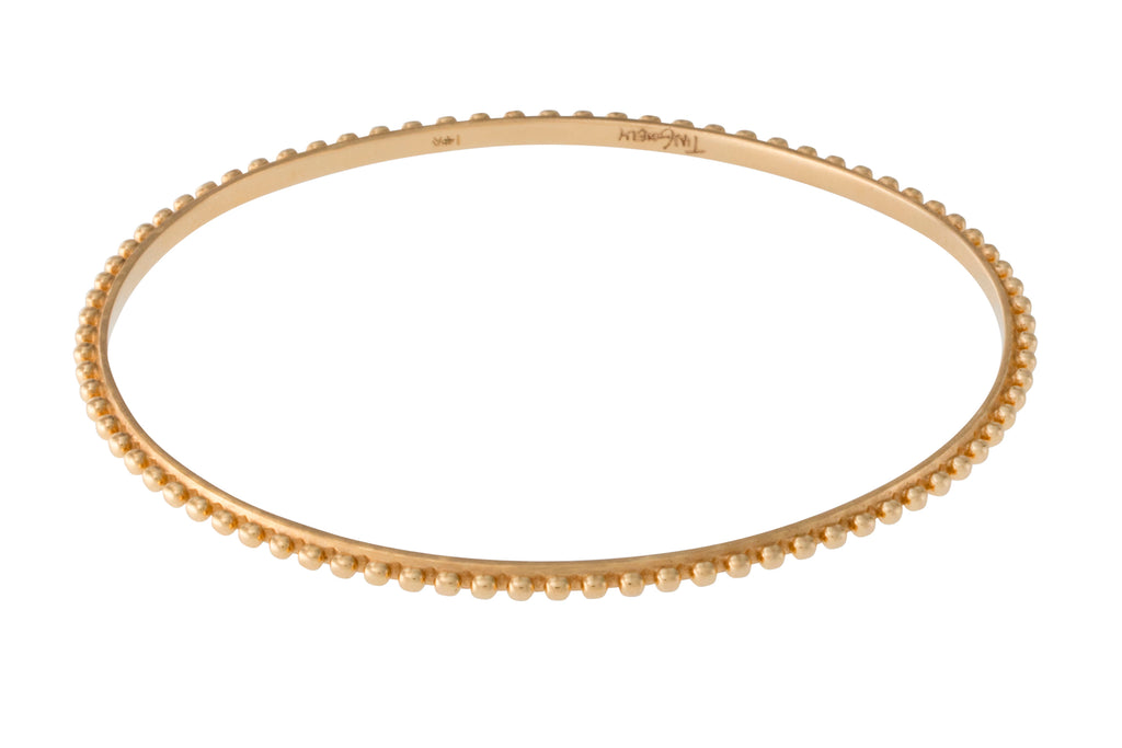 14K Yellow Gold Beaded Berber Bangle