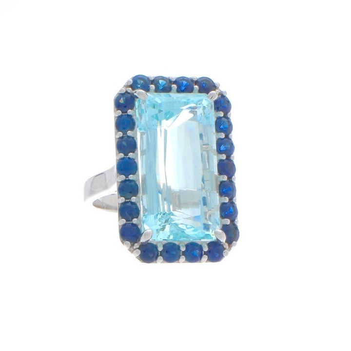 Aquamarine and Sapphire Ring 14K Gold