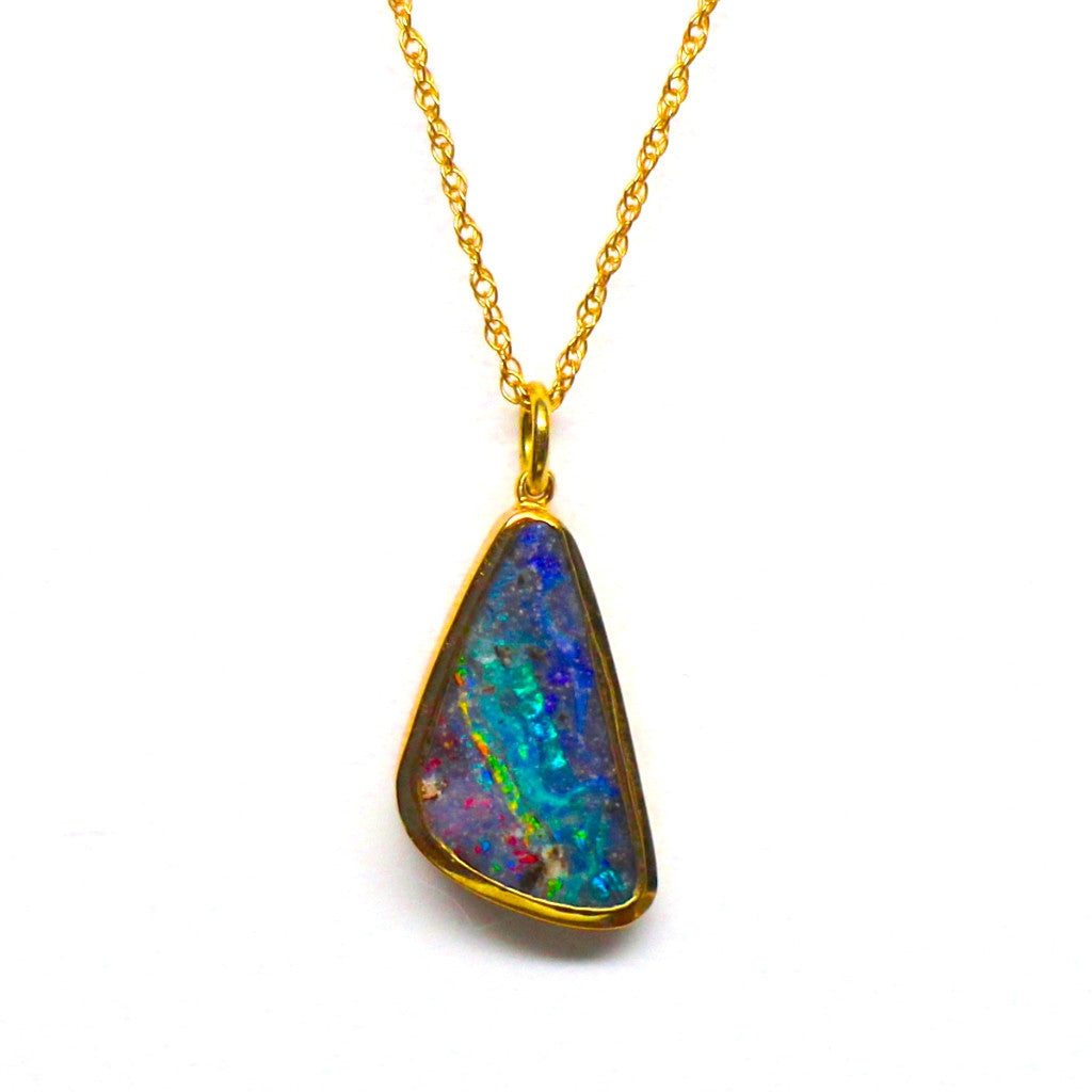 Boulder Opal Necklace 18K Gold