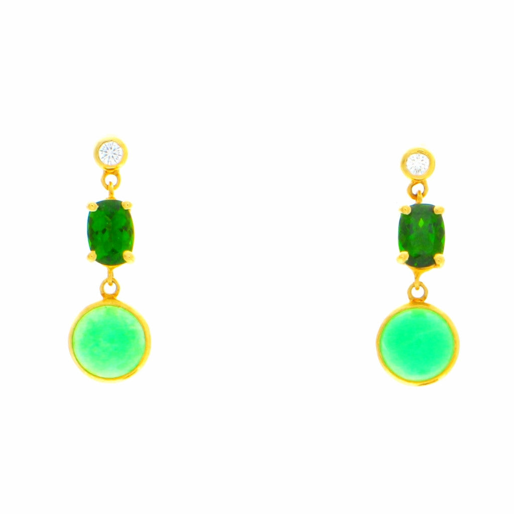 Diamond, Chrome Diopside and Green Chrysoprase Earrings 18K Gold