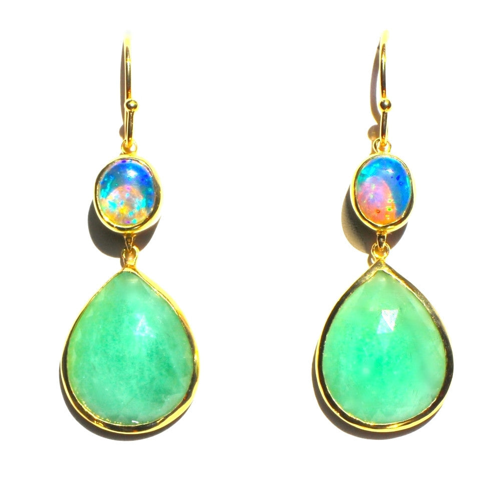 Emerald and Black Opal Drop Earring 18K Gold