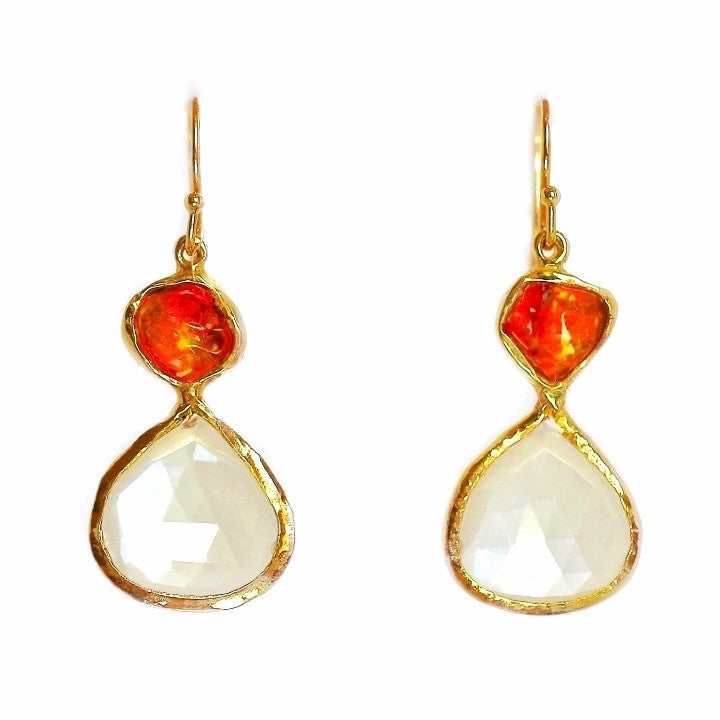 Fire Opal and Moonstone Earring 18K Gold