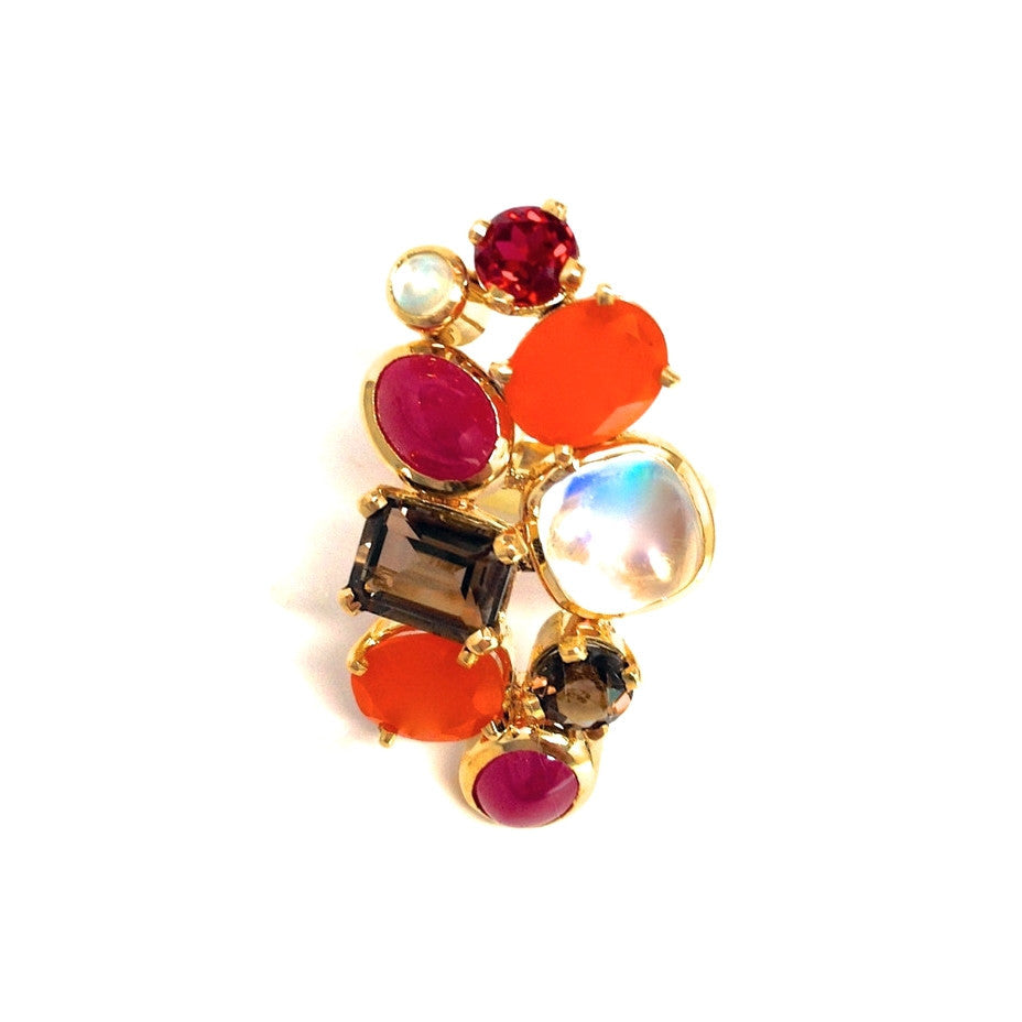 Fine Rainbow Moonstone Gem Cluster Ring 18K Gold