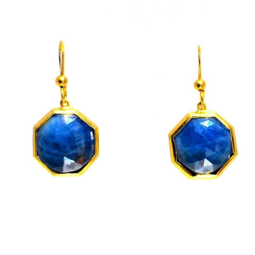 Blue Sapphire Octagon Earrings