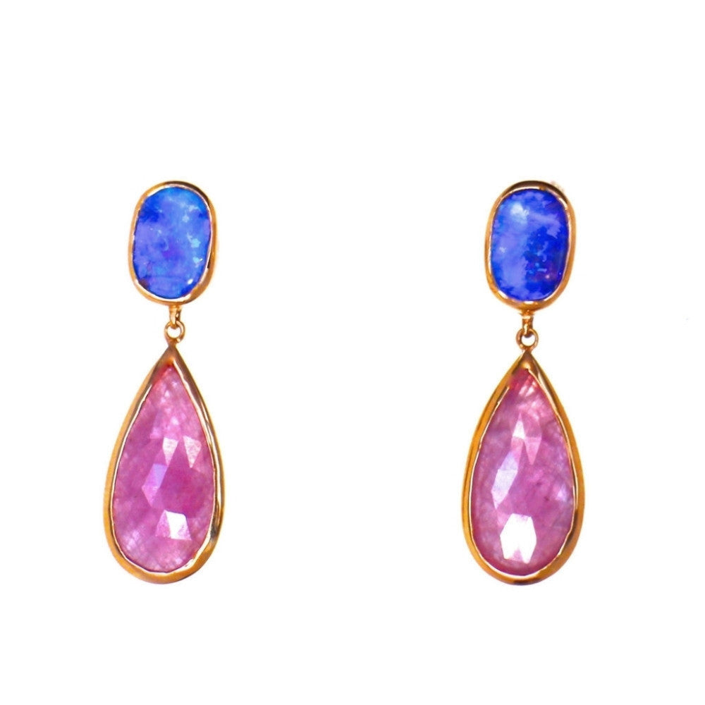 Opal and Sapphire Drop Earrings 18K Gold