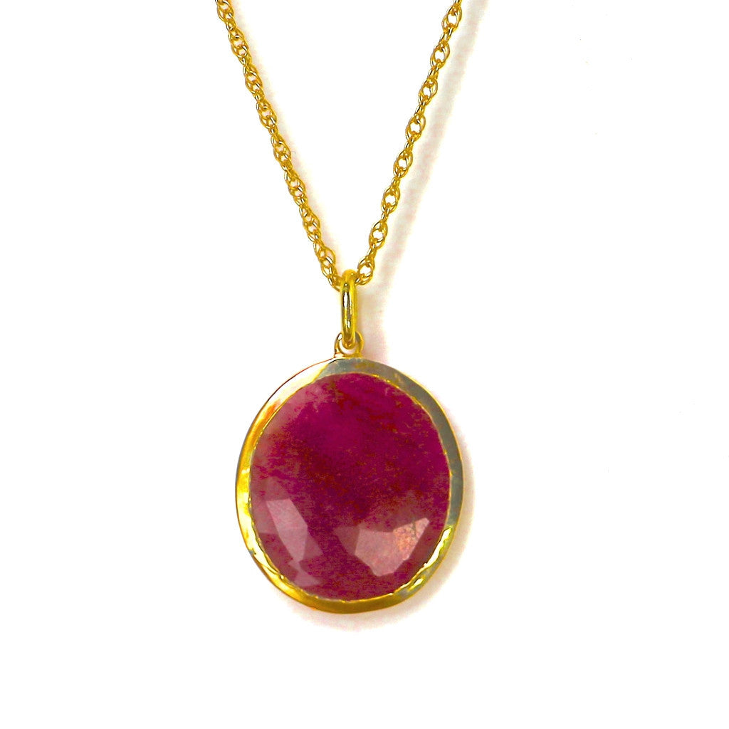 Ruby Sapphire Necklace 18K Gold