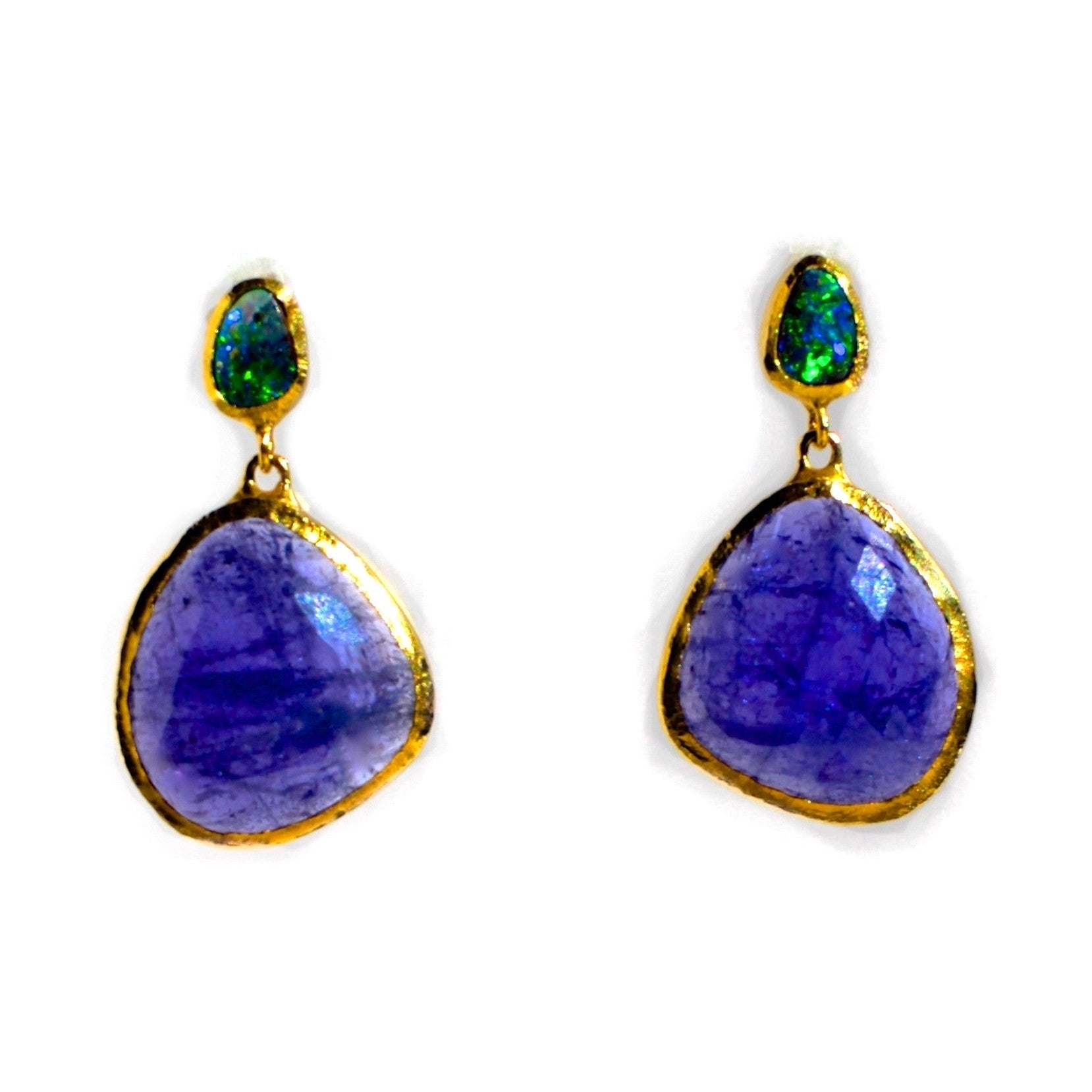 Tanzanite and Boulder Opal Earrings 18 K Gold