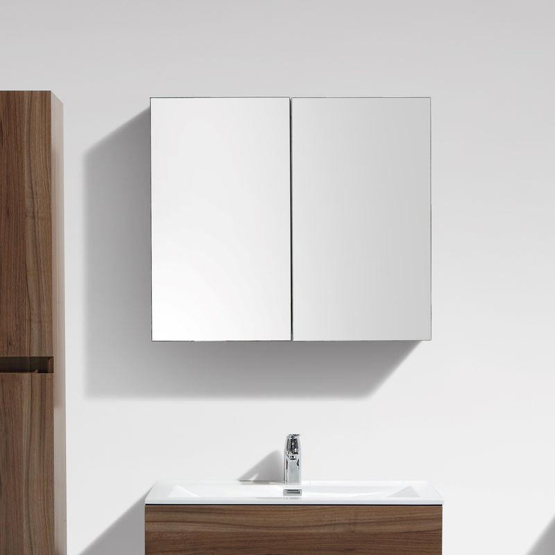 armoire de toilette bloc miroir siena largeur 80 cm noyer. Black Bedroom Furniture Sets. Home Design Ideas