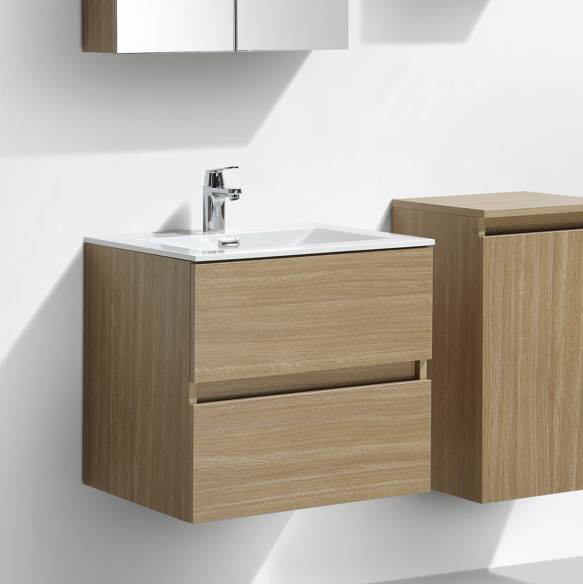 Meuble salle de bain design simple vasque siena largeur 60 cm ch ne c le monde du bain - Meuble sdb simple vasque ...