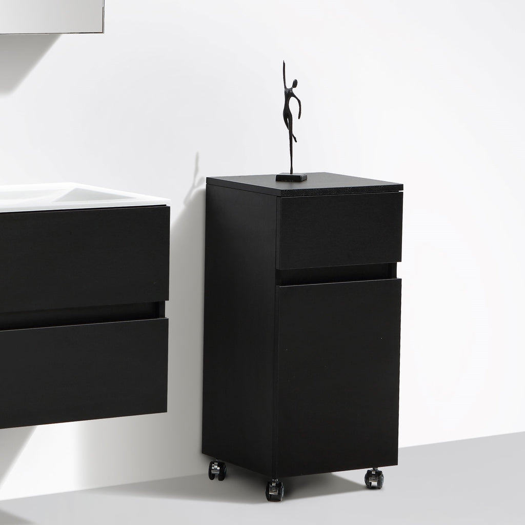 le monde du bain meuble de rangement sur roulettes siena hauteur 84 cm ch ne noir. Black Bedroom Furniture Sets. Home Design Ideas