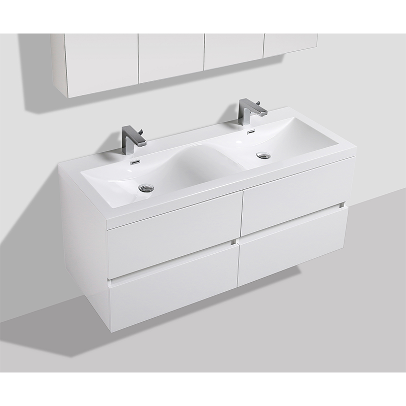 Pack Simple Siena 144cm Blanc Laqu Meuble Double Vasque 2 Robine Le Monde Du Bain