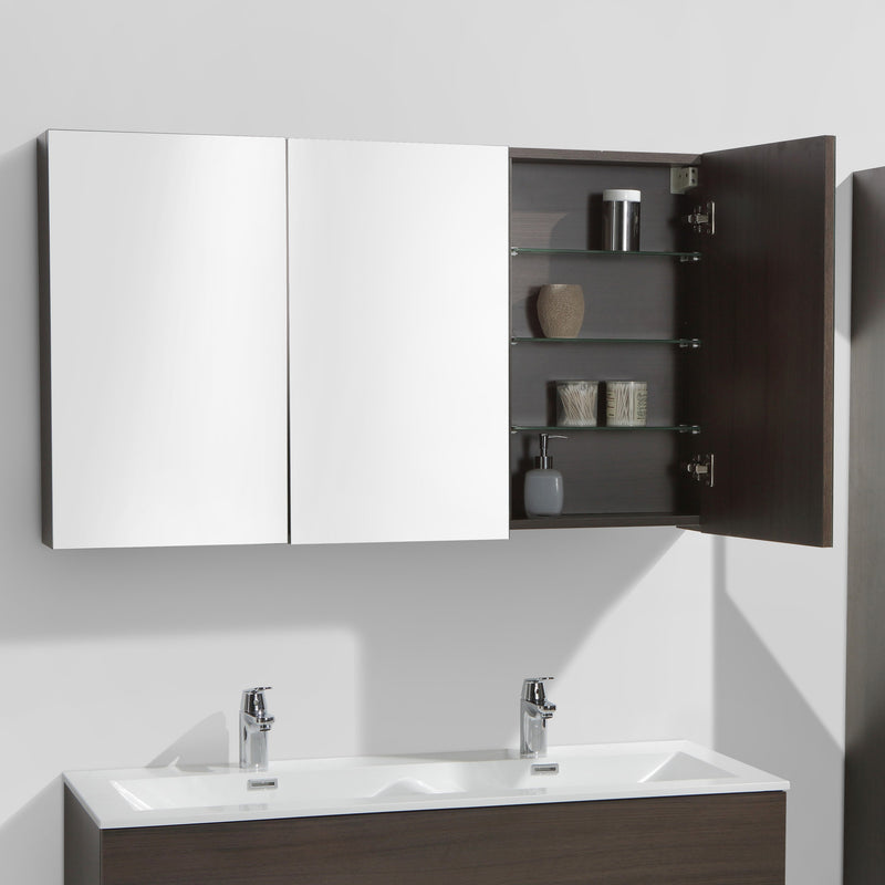armoire de toilette bloc miroir siena largeur 120 cm ch ne marron le monde du bain. Black Bedroom Furniture Sets. Home Design Ideas