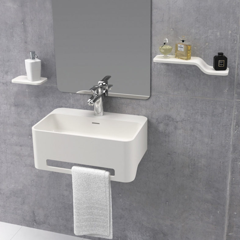 Lavabo suspendu design CORK 50 cm en solid surface - Le Monde du Bain
