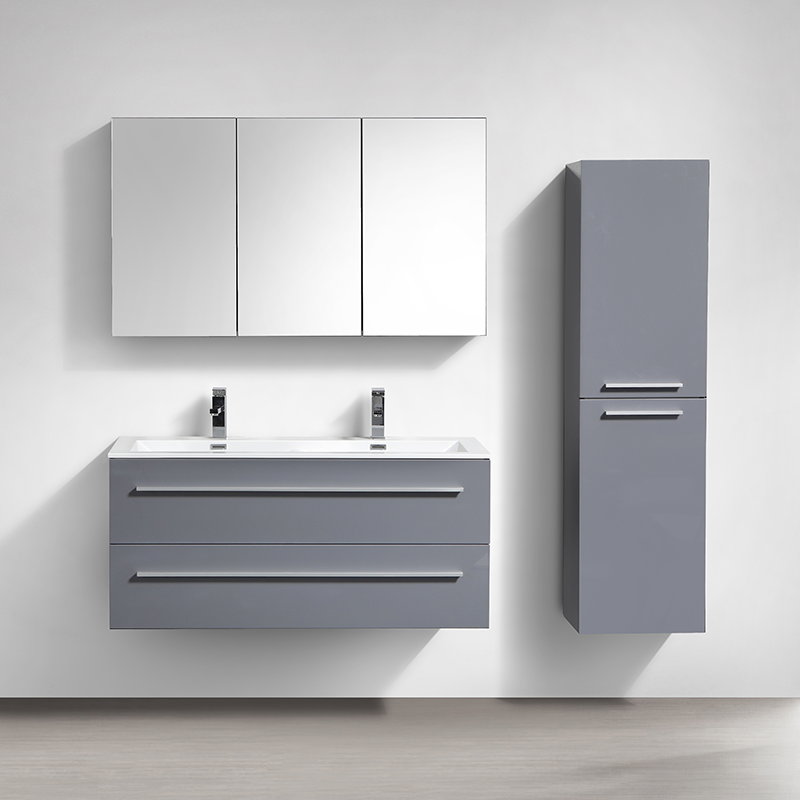 armoire de toilette bloc miroir siena largeur 120 cm gris laqu le monde du bain. Black Bedroom Furniture Sets. Home Design Ideas