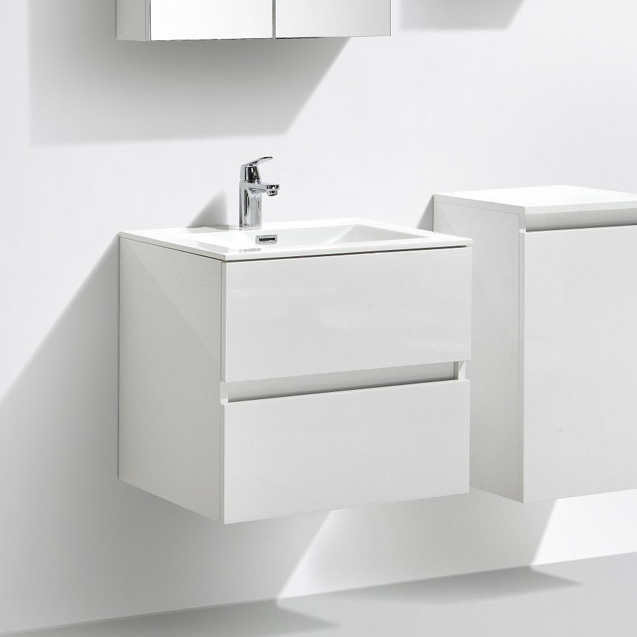 blanc laqu/é Meuble salle de bain design simple vasque SIENA largeur 80 cm