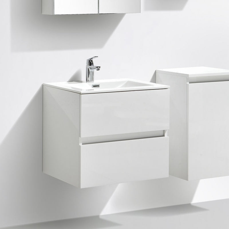 Meuble Salle De Bain Design Simple Vasque Siena Largeur  Cm Blanc