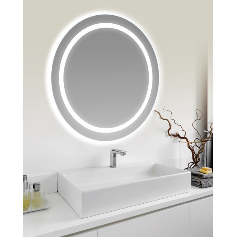 miroir lumineux evo rond 65 cm le monde du bain. Black Bedroom Furniture Sets. Home Design Ideas