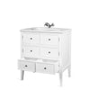 Meuble simple vasque 80 cm EDGAR en acajou, blanc