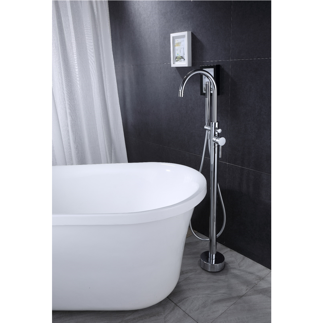 robinet mitigeur bain douche sur pied debrio pour. Black Bedroom Furniture Sets. Home Design Ideas