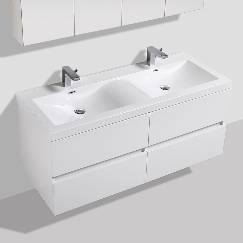 meuble salle de bain design double vasque siena largeur 144 cm blanc le monde du bain. Black Bedroom Furniture Sets. Home Design Ideas
