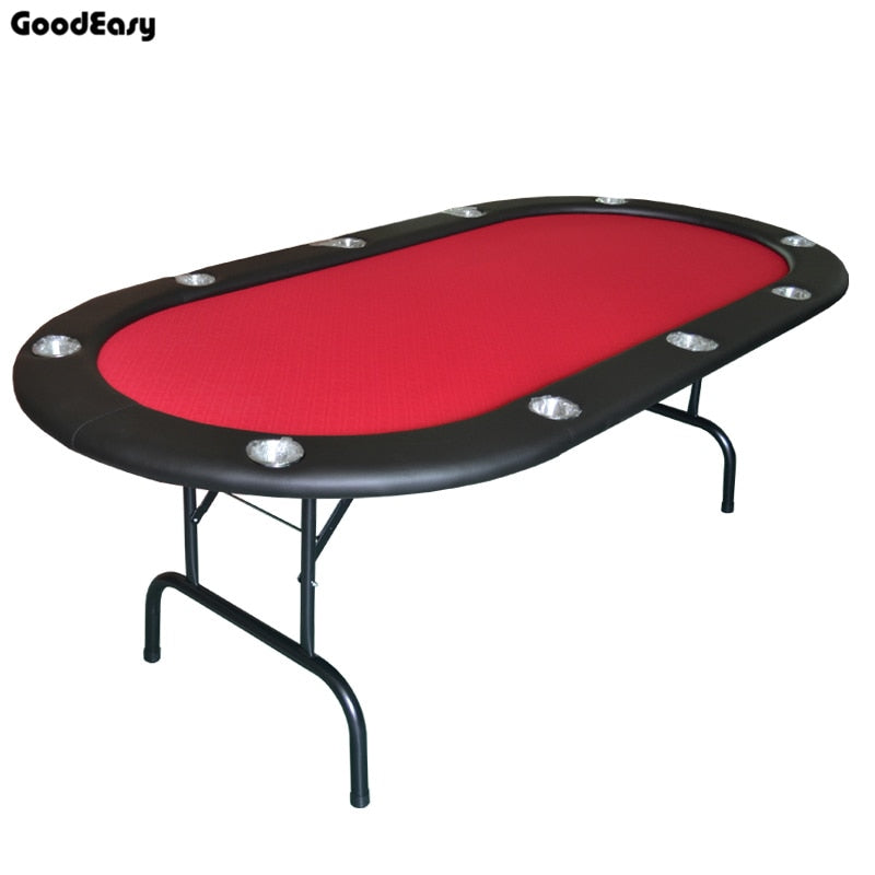 213*107*76cm Casino Foldable Poker Table Texas Hold'em Baccarat Two Fold with Waterproof Fabric 4colors Red/Blue/Green/Black