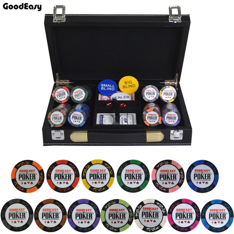 14g Clay Poker Chips Set With Leather Suitcase Casino Wheat Poker 14 Color Texas Hold'em Cheap Factory Price High Quality Chip