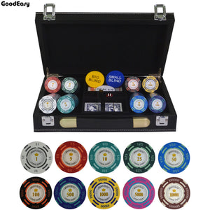 200/300/400/500PCS/SET Dollar Poker Chip Clay Casino Chips Texas Hold'em Poker Sets With PU-Leather Suitcase&Table cloth