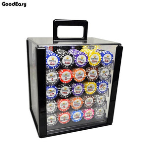 600PCS/1000PCS Casino Gold Crown Texas Hold'em Poker Chip Sets Baccarat Black Jack Pokerstars Metal Coins With Acylic Box&Trays