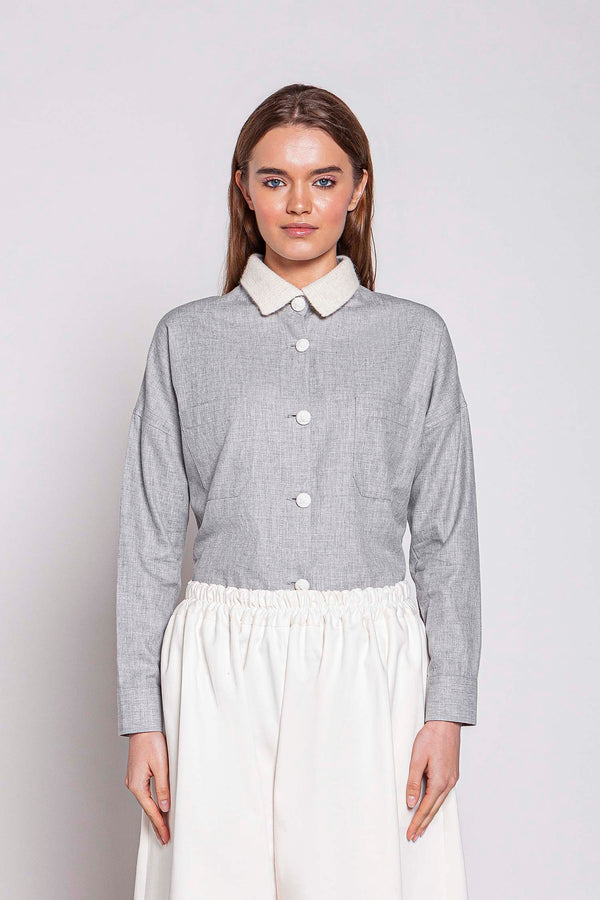 MONDAY 03F | WOMEN'S GREY SHIRT WITH KNITTED COLLAR