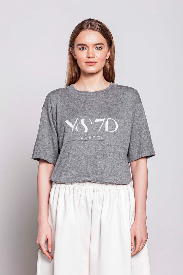 WEEKDAY | WOMEN'S KNITTED GREY T-SHIRT