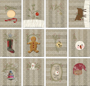 F1717 - Christmas Ornaments Preprinted Fabric