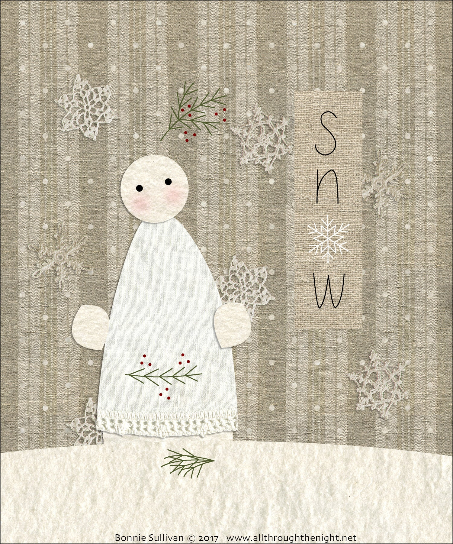 F1721 - Snow (January) Preprinted Fabric