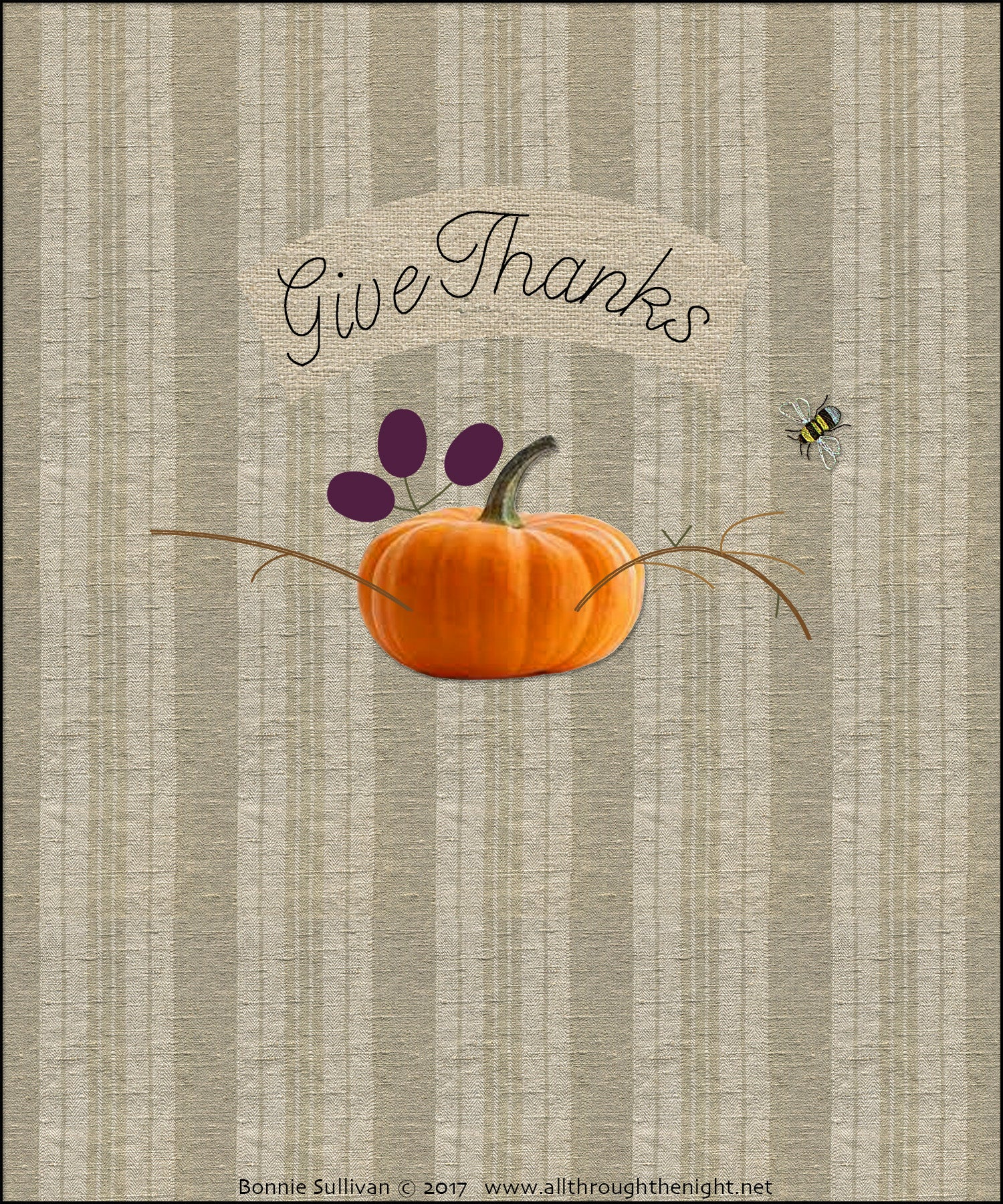 F1731 - Give Thanks (November) Preprinted Fabric