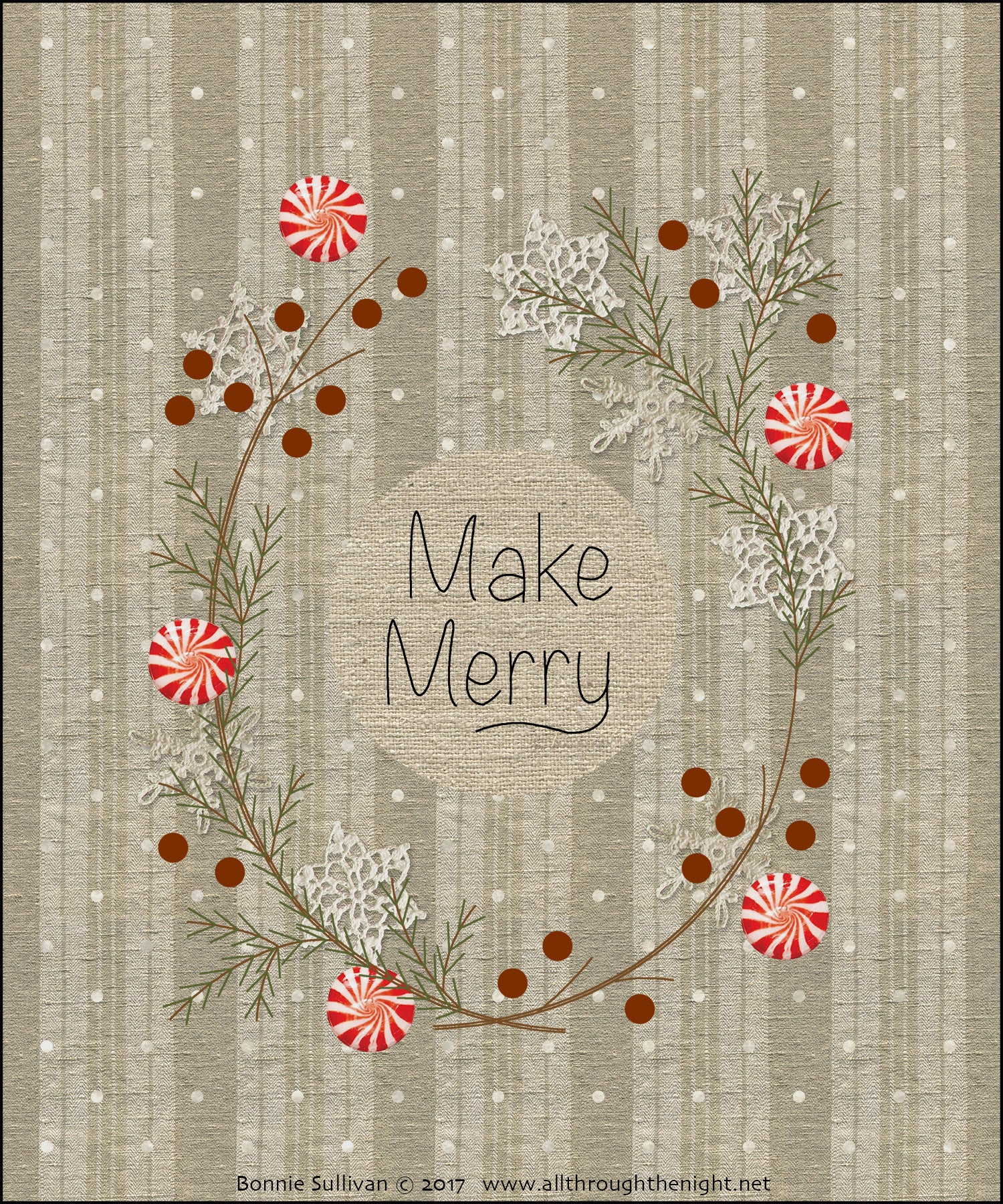 F1732 - Make Merry (December) Preprinted Fabric