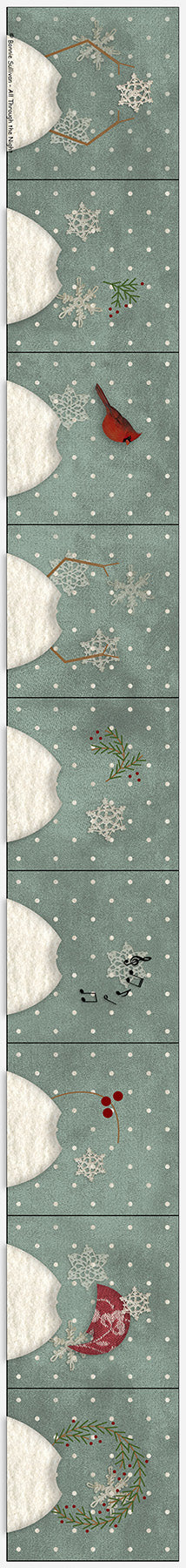 F1908 - Nine Little Snowmen Preprinted Fabric